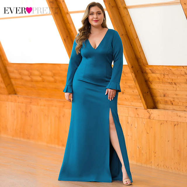 Sexy Teal Mermaid Prom Dresses V-Neck High Split Long Sleeve Elegant Women Formal Party Dresses 4