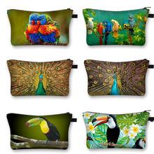 Pavão/pica-pau/papagaio 3d impressão sacos cosméticos pássaro bonito mulheres viagem necessidade maquiagem saco organizador de armazenamento feminino