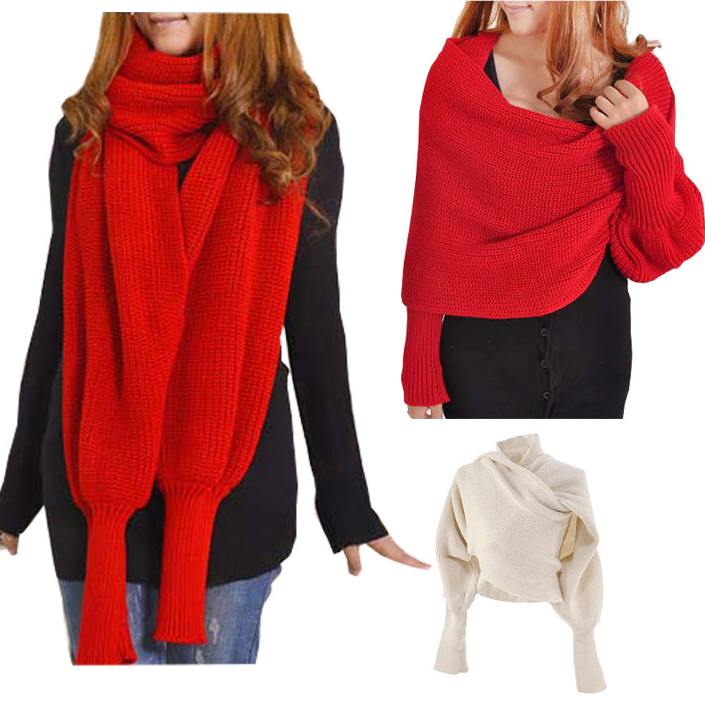 Fashion Winter Warm Solid Color Knitted Wrap Scarf Crochet Thick Shawl Cape With Sleeve For Women And Men Scarf With Leeves