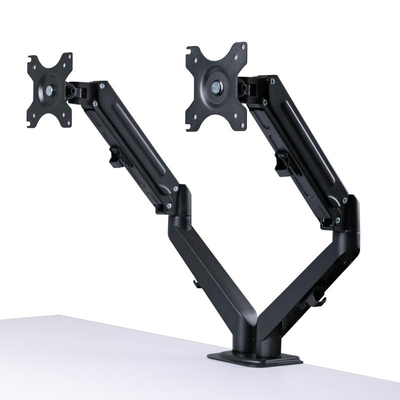 Подставка для двойного монитора для ЖК-экранов 13-27 Светодиодный, подставка для двух мониторов для столов, кронштейн для двойного монитора с ...