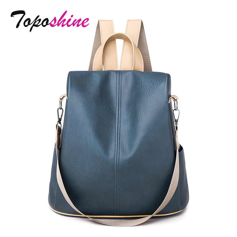 Toposhine Anti-theft Women's Backpacks Trendy Soft Quality Leather Backpack Korea Multi-function Shopping Girl Backpack For Lady