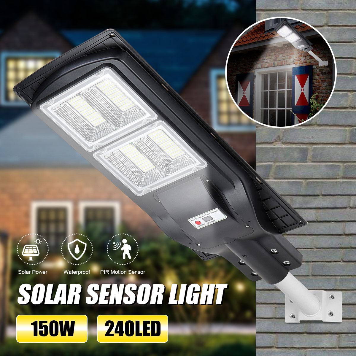 150W 240 lampadaire solaire LED contrôle de la lumière + Radar détection + télécommande étanche extérieur jardin clôture mur minuterie lampe
