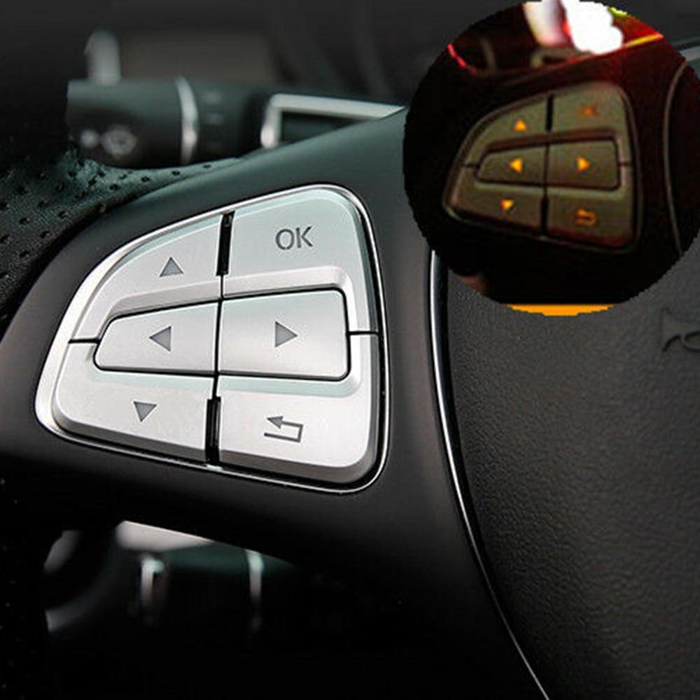 Interior Button Cover Trim 12pcs Parts Silver For Mercedes-Benz GLE W166/Coupe C292 2015-2017 Car