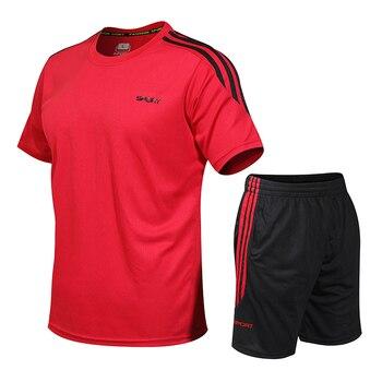 Mens Tracksuits Set 2020 Summer Men Shorts Sets New Sportswear Short-Sleeved Shirts +Shorts Casual Outwear Man Sport Sweat Suits 5