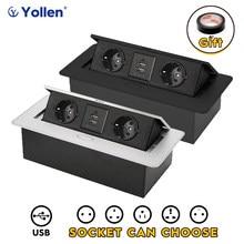 Aluminium Paneel Eu Standaard Verborgen Type Tabel Socket 2 Manier Stopcontact Usb/3EUR/Ons/Universele Kantoor keukenkast Desktop