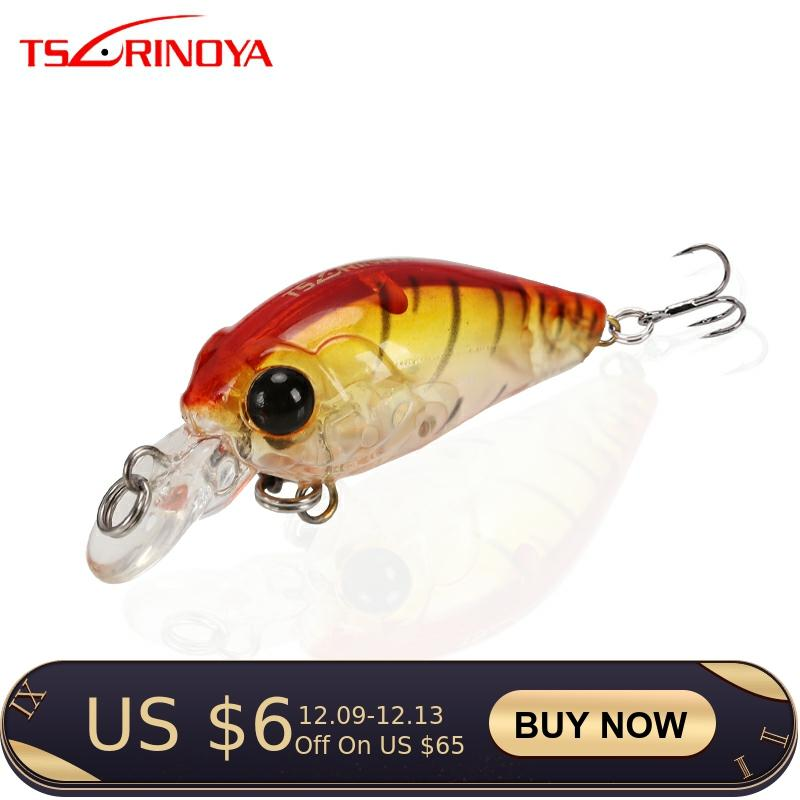 TSURINOYA Fishing Lure DW24  Mini Crank Bait 35mm 3.5g Artificial Bait Diving Depth 0.8-1.2m With Treble Hook