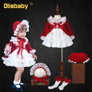 4 шт., рождественское красное винтажное испанское платье для девочек, бархатное шелковое кружевное платье-пачка, платье на день рождения для...