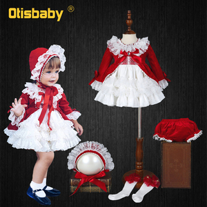 4 szt. Świąteczne dziewczyny czerwona sukienka w stylu hiszpańskim aksamitna hołd jedwabna koronkowa Tutu sukienka dziewczynek 1 2 3 4 5 6 lat sukienka urodzinowa