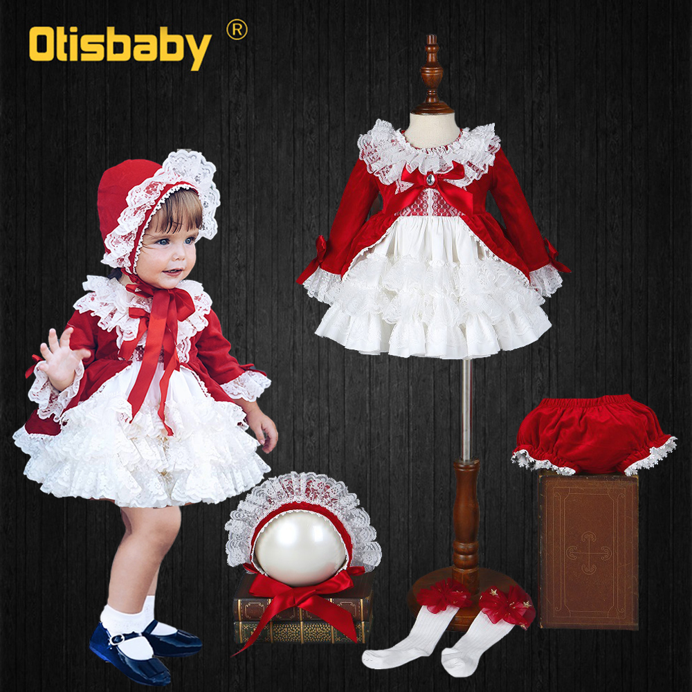 4 PCS Christmas Girls Red Vintage Spanish <font><b>Dress</b></font> Velvet Tribute Silk Lace Tutu <font><b>Dress</b></font> Baby Girls 1 <font><b>2</b></font> 3 4 5 6 Years <font><b>Birthday</b></font> <font><b>Dress</b></font> image