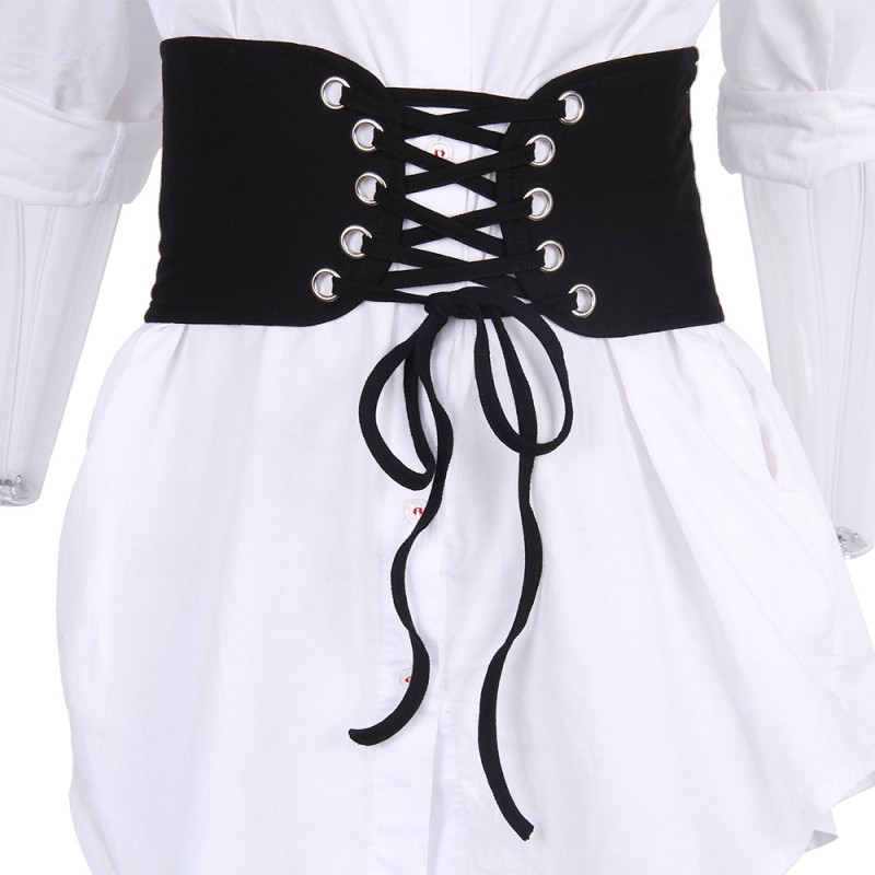 Fashion Women Vintage Knitted Lace Up Corset Bandage Shape-Making Solid Wide Band Waist Belts