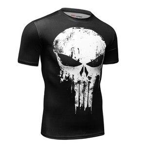 Image 2 - 2019 המעניש Mens T חולצה דחיסת חולצה 3D מודפס T חולצות גברים קרוע קצר שרוול כושר חולצות קודי LUNDIN