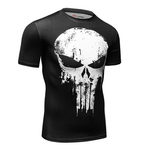 Image 2 - 2019 camisa Dos Homens T Compressão Camisa Punisher 3D Impresso camisetas Homens Raglan Manga Curta Tops Fitness CODY LUNDIN
