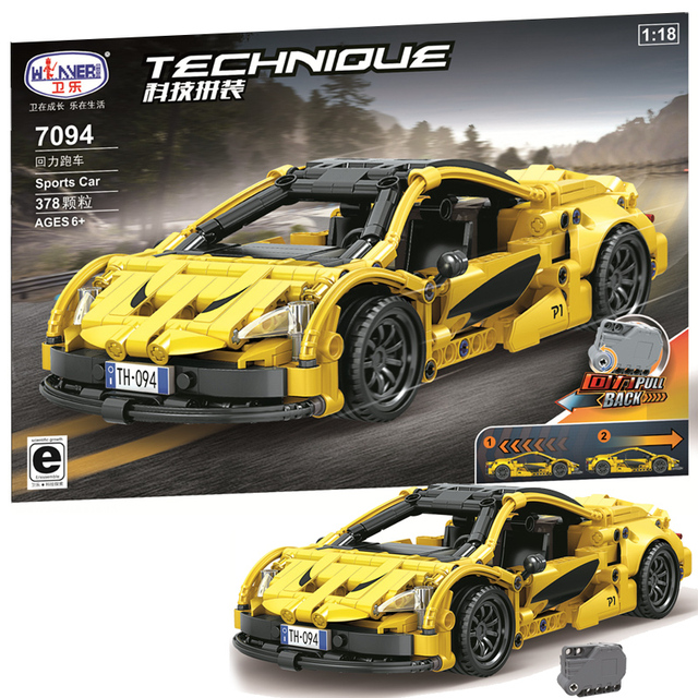 MOC City Pull Back Sports Yellow Car 378pcs High-tech Creator Model Building Blocks Bricks Toys For boys Christmas Gifts juguete 1