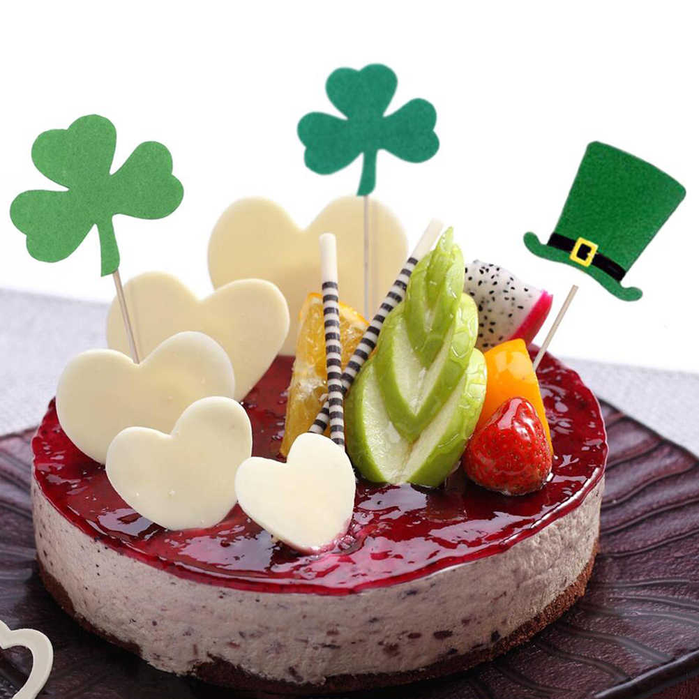 Astounding 20Pcs St Patricks Day Cake Topper Paper Clover And Hat Cake Personalised Birthday Cards Cominlily Jamesorg