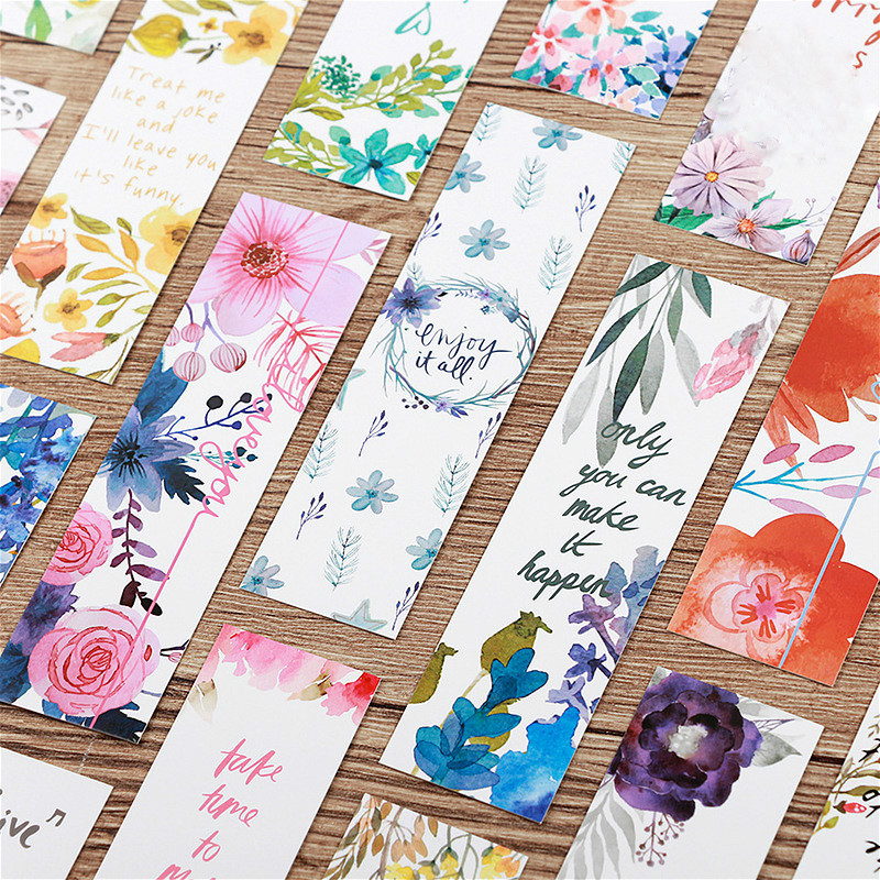 30 Pcs Beautiful Flowers Bookmarks Message Cards Book Notes Paper Page Holder For Books School Supplies Accessories Stationery