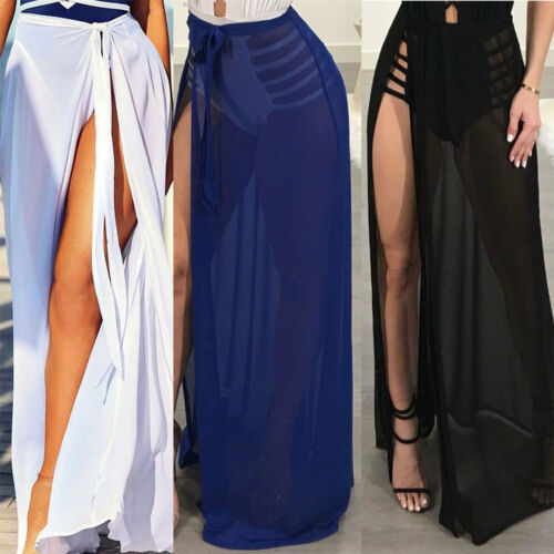 Summer Bikini Cover Up Women's Mesh Sheer Beach Maxi Skirt Swimwear Swimsuit Bathing Suit See Throngh High Waist Long Skirts