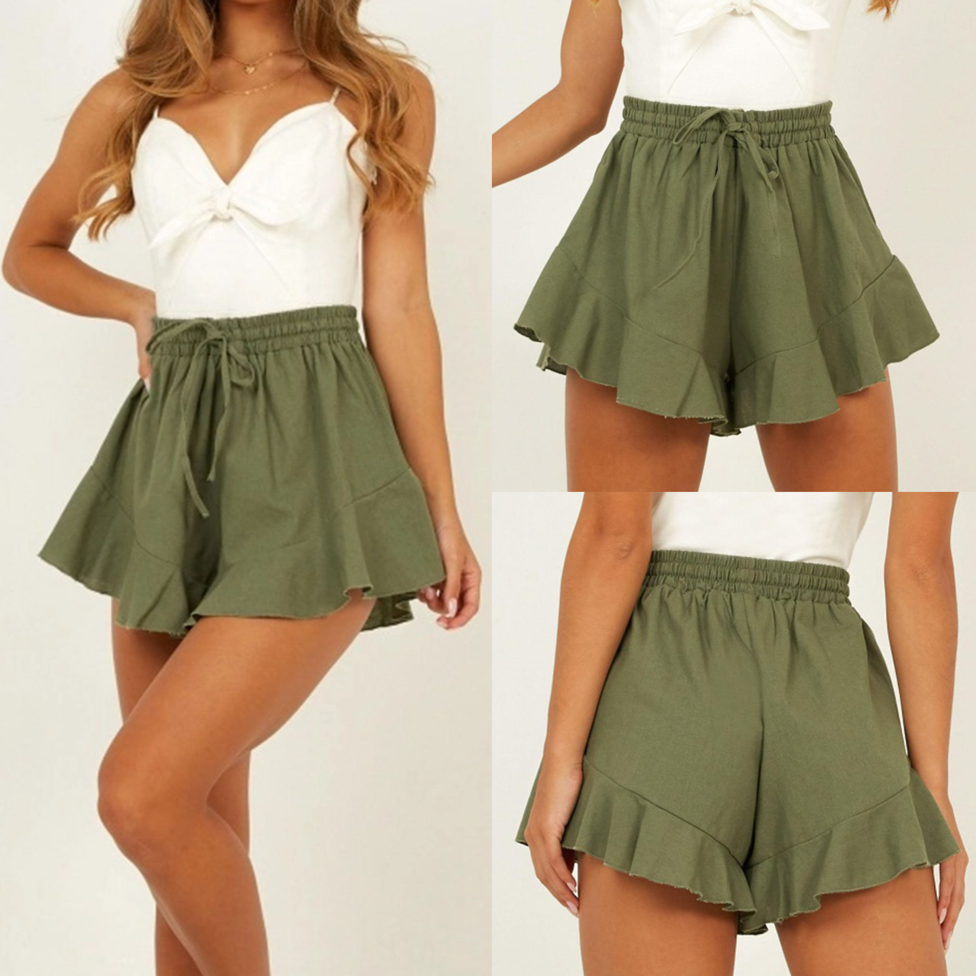 2019 New Arrivals Women Summer Clothes  Causal Shorts Wide Leg Shorts Sexy Green High Waist Bandage Short Ruffled Shorts