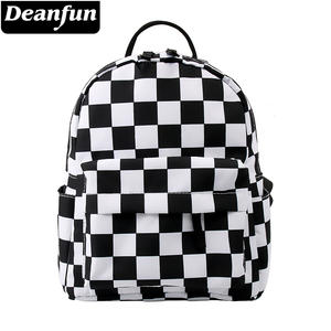 Deanfun Waterproof Backpack Shoulder-Bag Lattice Teenages Classical Black White Women