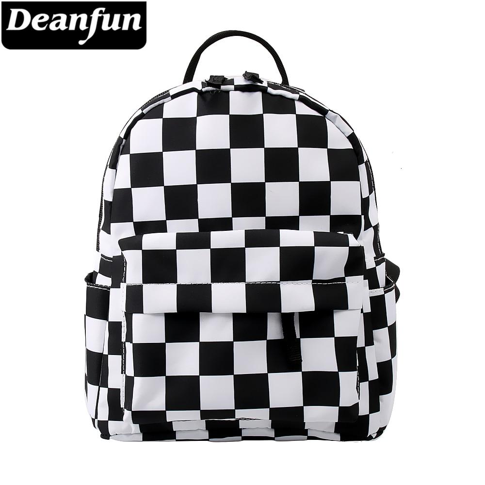 Deanfun Mini Backpack 3D Printed Classical Black And White Lattice Waterproof Backpack Women Shoulder Bag For Teenages MNSB-8