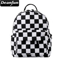 Deanfun Mini Backpack 3D Printed Classical Black And White Lattice Waterproof Backpack Women Shoulder Bag For Teenages MNSB-8(China)