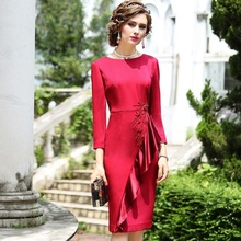 2019 new High quality Retro Ruffles Women ladies sexy Nail bead Party dress Plus Size work Flower Occupation dresses Celebrities