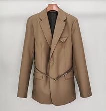 Blazer de lana de alta calidad para mujer, chaqueta con cinturón + pantalón largo informal, 2 colores, ddxgz2 2020