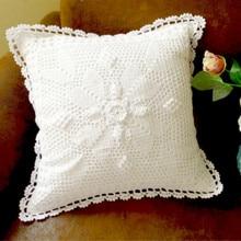 Original handmade crochet American-Style Village Pastoral Pillow Cushion Retro Hollow cotton thread Sofa Decorative