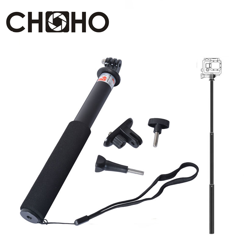 Self Selfie Stick Handheld Extendable Pole Monopod Tripod + Phone Holder Adapter for Gopro HERO 8 <font><b>7</b></font> 6 5 4 <font><b>3</b></font>+ xiaomi yi 4K SJCAM image