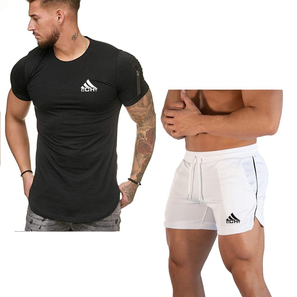 Men's Sets 2020 Breathable Fabric Mens 2 Piece O-neck Shirt + Shorts Outfit Sport Set Summer T-shirt + Short Pants