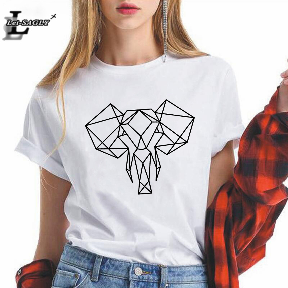 Best Selling Aesthetic Geometric Elephant T Shirts Women Clothes Graphic Loose Funny Casual Women's Fashion Harajuku T-shirt