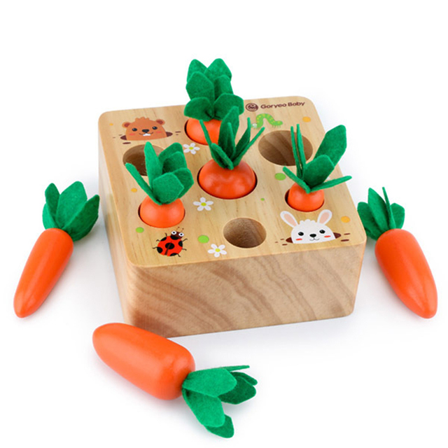 Harvest Carrot Kids Wooden Montessori Toys Block Set Children Size Cognition Shape Matching Carrot Game Early
