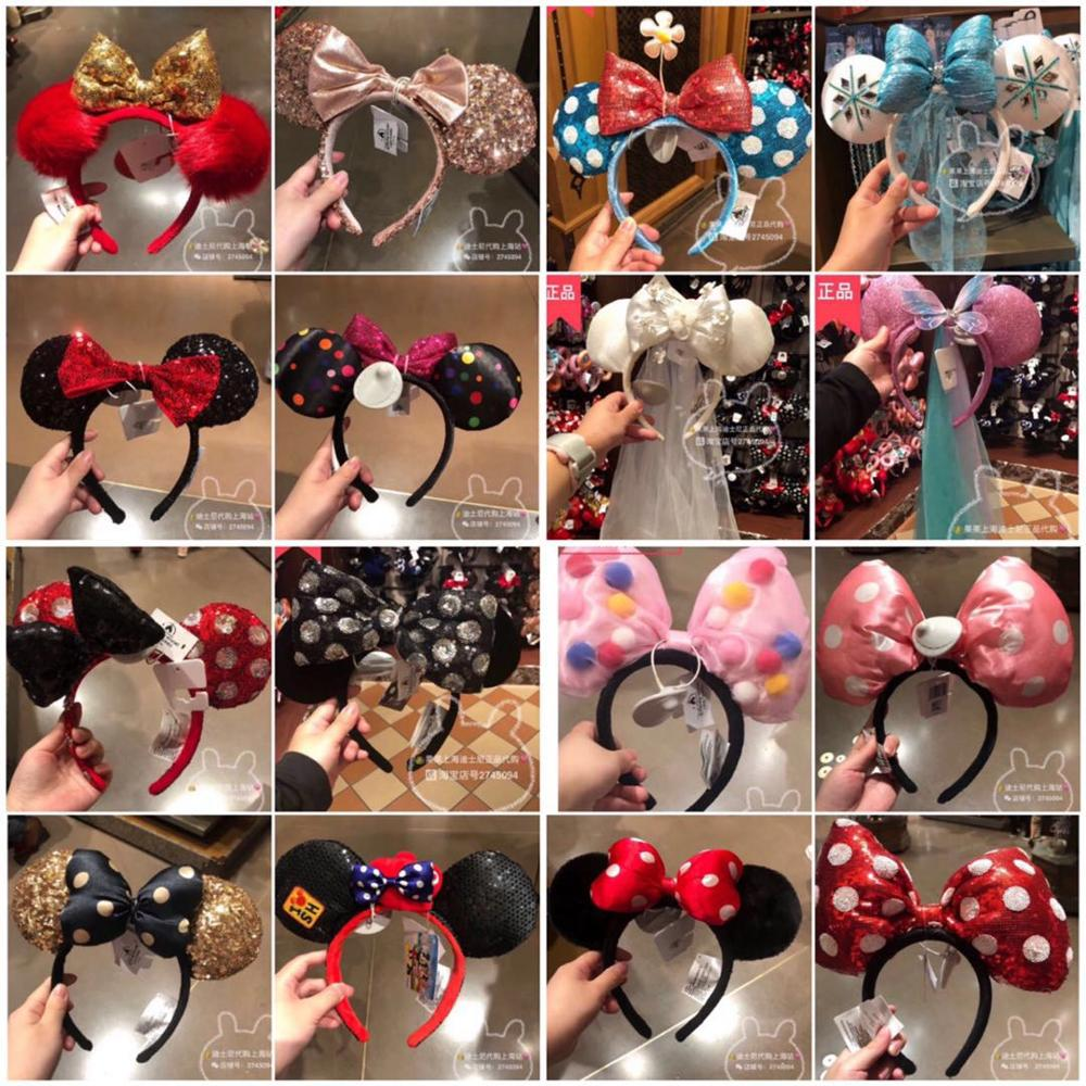 New Minnie Mickey Mouse Sequin EARS COSTUME Headband Cosplay Plush Adult/Kids Headband Gift Many Styles