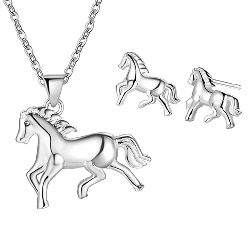 Gold Silver Plated Steed Horse Charm Pendant Chain Sweater Necklace Jewelry Gift