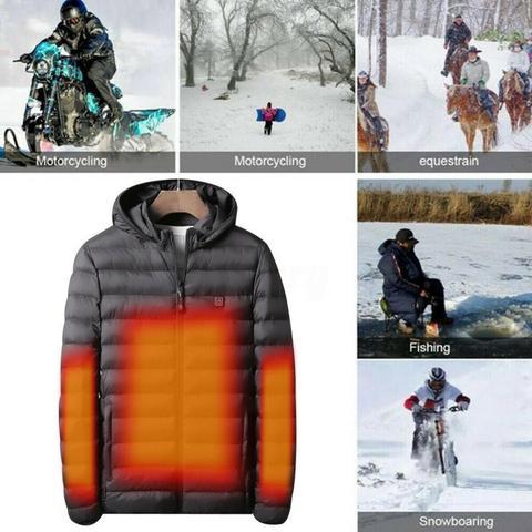 casaco usb bateria eletrica mangas compridas aquecimento