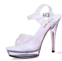 Sandals Women Soulier Femme Model Stage Shows Sexy High-heeled Shoes 10-20cm High Transparent Waterproof Sandals Large-size35-42 sexy fashion models to shoot steel pipe shoes shoe stage shows black high heeled shoes bride wedding sandals