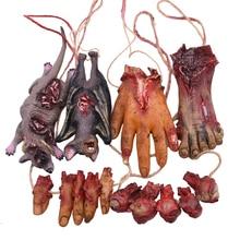 1P Horror Hanging Prop Fake Dead Mouse Bat Broken Hands Feet Terror Halloween Party Decoration Haunted House Decor Prop Ornament
