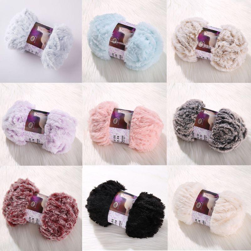 50g/Ball DIY Fluffy Plush Chunky Thick Knitting Yarn Multicolor Hand-Woven Crochet Velvet Thread For Baby Warm Hat Scarf Sweater