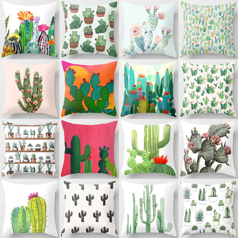 Tropical Cactus Summer Plants Pattern Cushion Cover Polyester Home Decor Decorative Car Seat Throw Pillow Cover For Sofa 40829