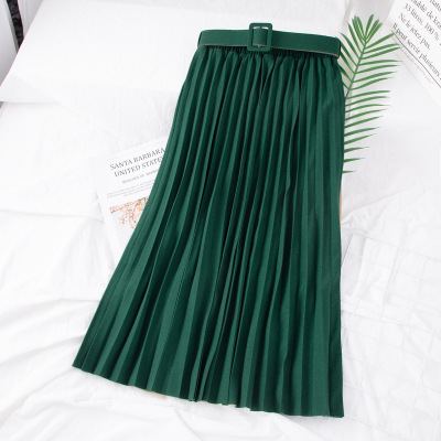928 # 2020 New Pleated Women Skirts Pilling Elastic Waist Was Thin Skirt Girl Factory Outlets Free Belt