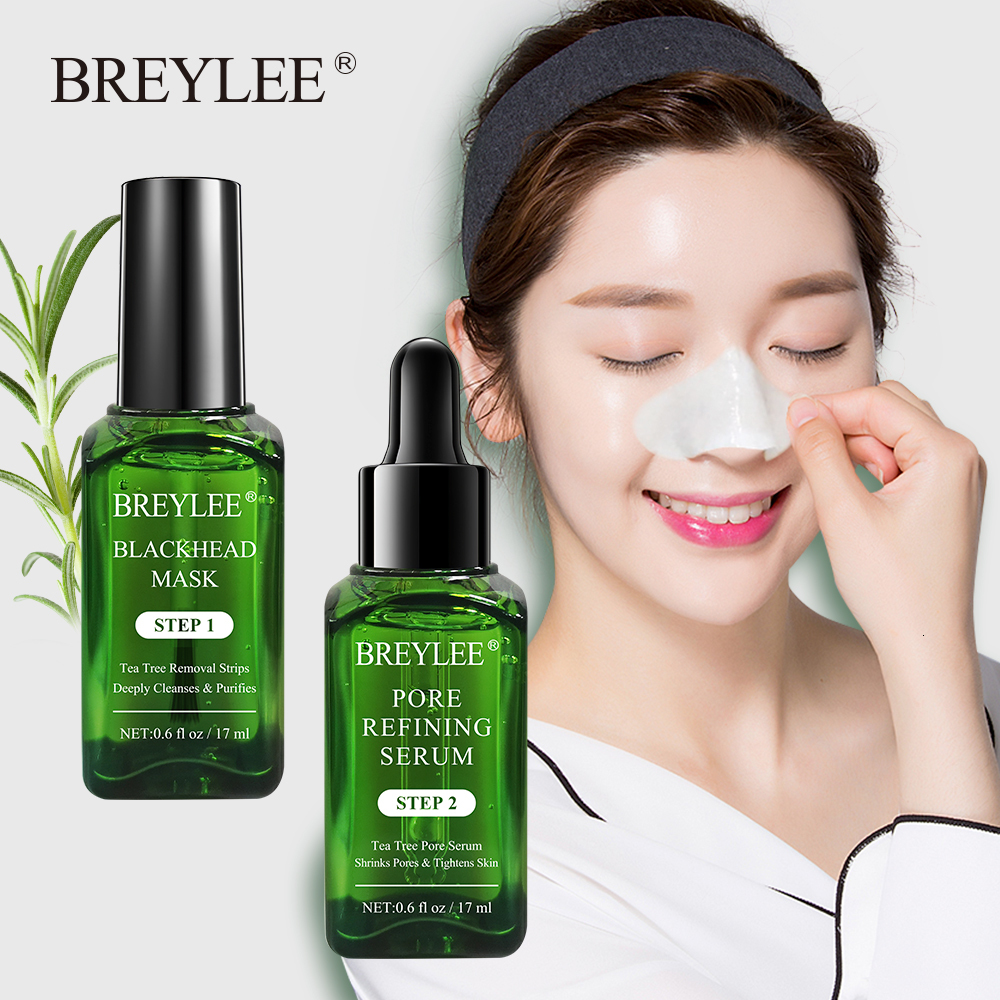 BREYLEE Blackhead Removal Face Serum Black Mask Acne Treatment Skin Care Deeply Cleaning Shrinks Pore Essence Peeling Off Sheet