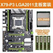 1 ensemble noir + vert carte PCB + métal X79 P3 LGA 2011 ATX plateau de jeu DDR3 RAM mémoire NVME M.2 SSD prend en charge Intel Xeon Core CPU
