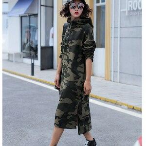 Image 2 - Осеннее базовое платье с капюшоном, свитшоты, женские модные корейские камуфляжные толстовки, новая длинная верхняя одежда, повседневные пуловеры с разрезом