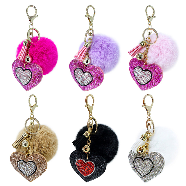 Pompom Keychain Rhinestone Heart Women's Bags Key Ring Handmade Accrssories Keychains Pendants Charming Suspension Decoration 1