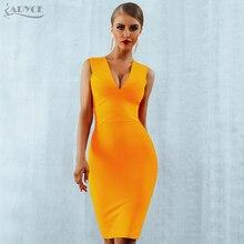 ADYCE Sommer Frauen Verband Kleid Vestidos 2020 Rot Orange Tank Sexy Tiefem V ausschnitt Ärmel Bodycon Promi Runway Party Kleid