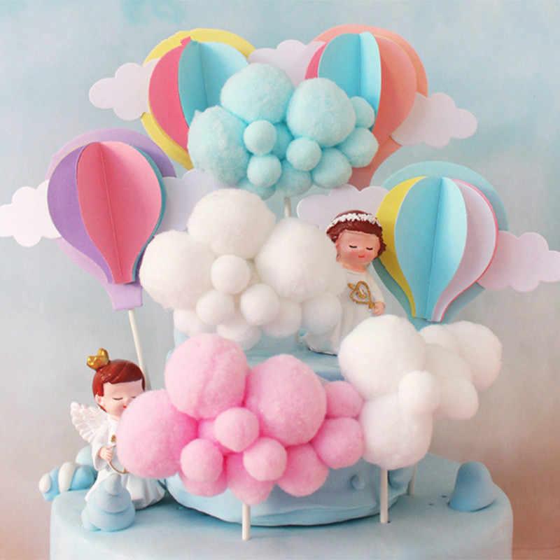虹ユニコーンケーキトッパーの誕生日ウェディングケーキフラグクラウド熱気球ケーキ誕生日パーティーベーキング装飾用品