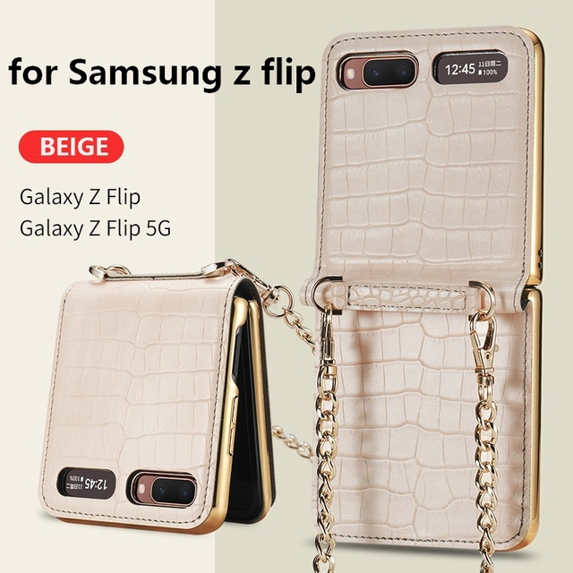 Luxury Mirror Case for Samsung Z Flip 5G Cover Makeups Bag Phone Case with Chain Strap Shockproof Shell for Galaxy Z Flip Case 1