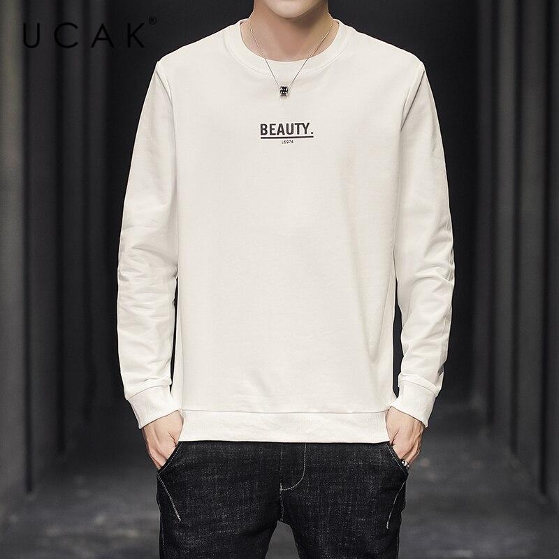 UCAK Brand Man Hoodies Long Sleeve Cotton Hoodie Spring Autumn Tops Streetwear Sweatshirt Harajuku Solid Color Hoodie Men U7001