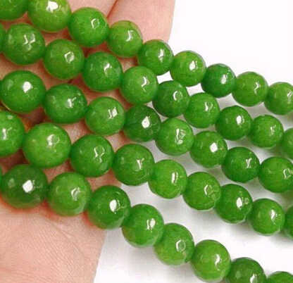 """+ + + 818 szlifowane 8mm zielony peridot kule luźne koraliki 15"""""""