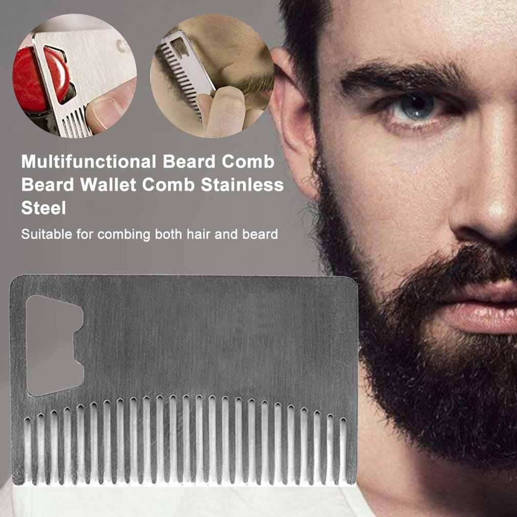 Metalowy grzebień do włosów i brody z otwieraczem do butelek uniwersalny rozmiar karty kredytowej do portfela i kieszeni