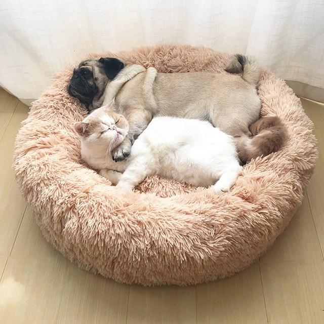 Cama de Gato de peluche largo Super suave y esponjoso cómodo Coussin Chat lecho de mascota caseta Puppy Cushion Mats antideslizante gatito casa suministros